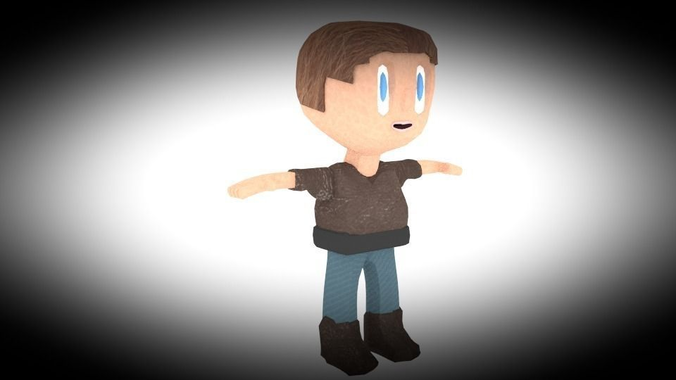 Textured And Rigged Low Poly Kid3D model