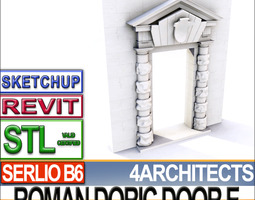 Renaissance Doric Door E Revit stl 3D Model