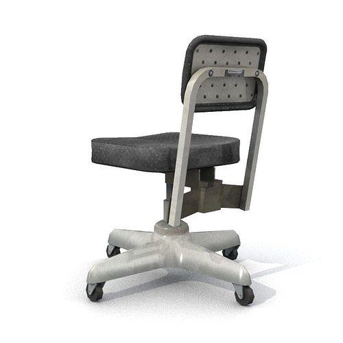 old office chair 3d model low-poly obj fbx lwo lw lws mtl 3
