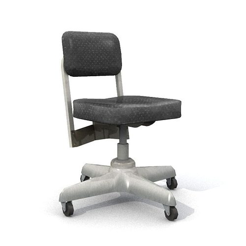 old office chair 3d model low-poly obj mtl fbx lwo lw lws 1
