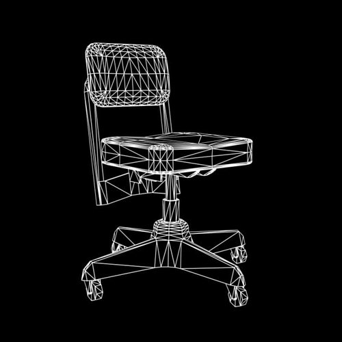 old office chair 3d model low-poly obj fbx lwo lw lws mtl 2
