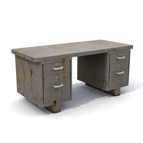 old rusty office desk 3d model low-poly obj fbx lwo lw lws mtl 1