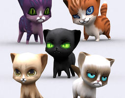3drt - chibii cats 3d model low-poly rigged animated