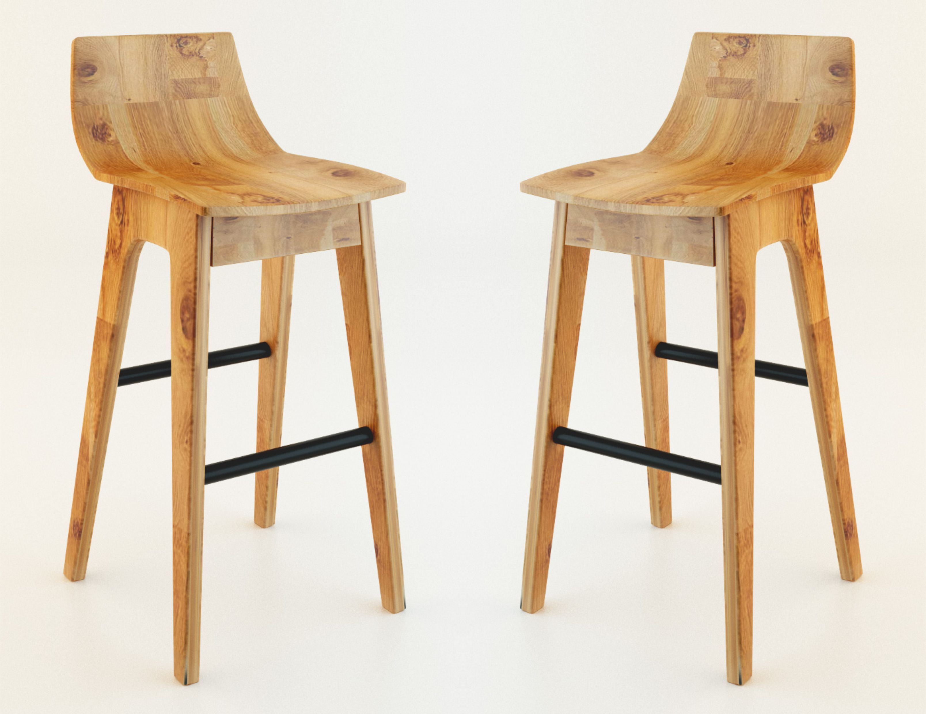 wooden bar stool 3D CGTrader
