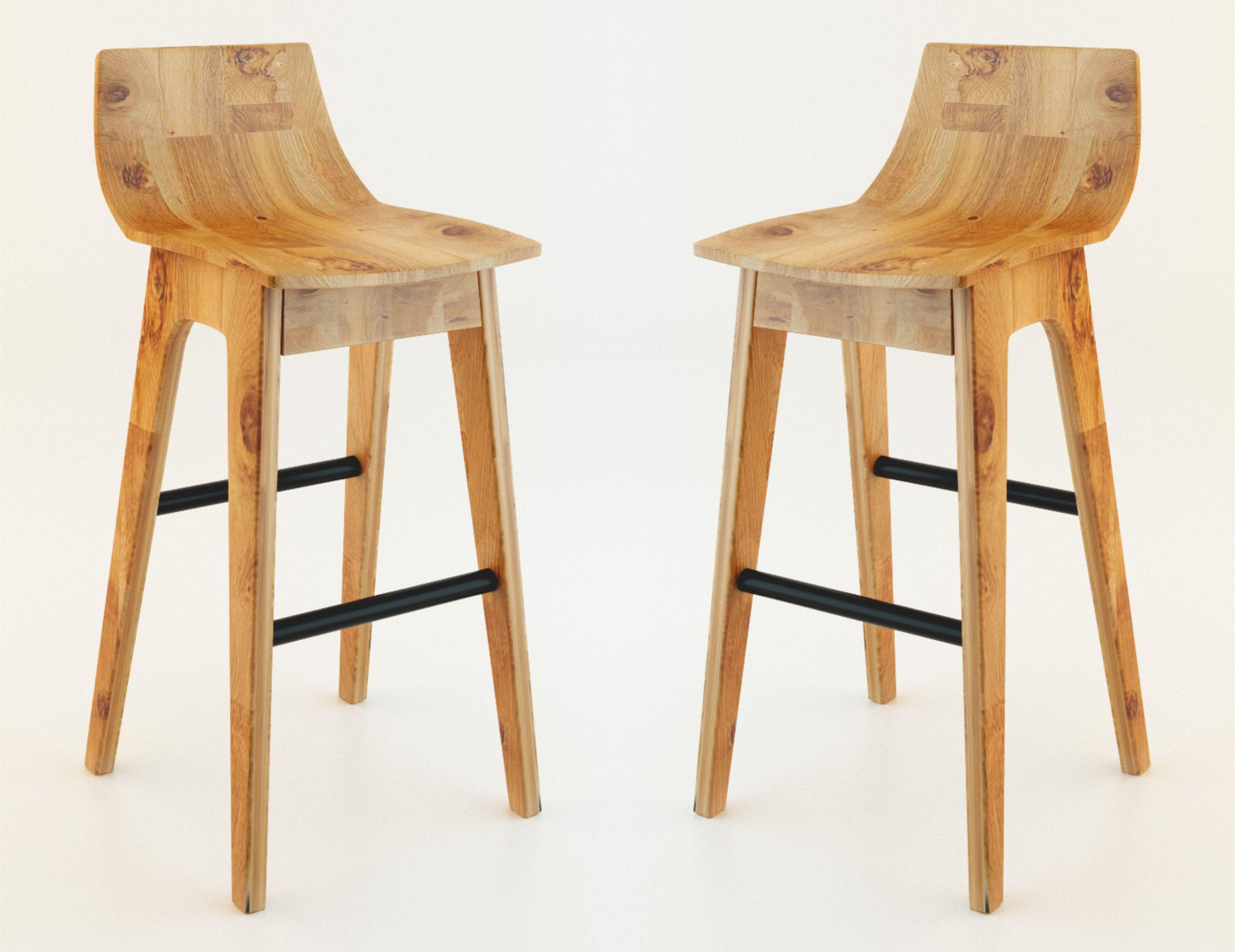 Wooden Bar Stool 3D Model max CGTradercom