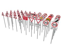 game-ready 3d model uk road signs