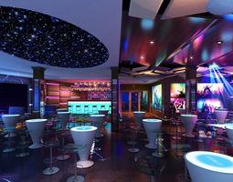 3D pub Blue night Bar