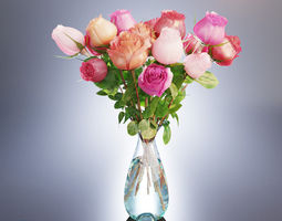 3d a bouquet of roses in a vase