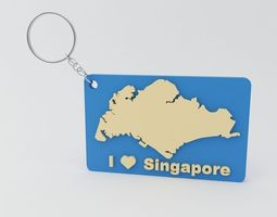 3D print model Singapore Keychain
