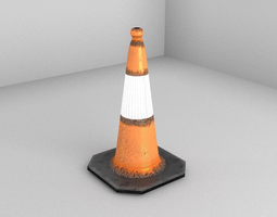 3d model low-poly city traffic cone