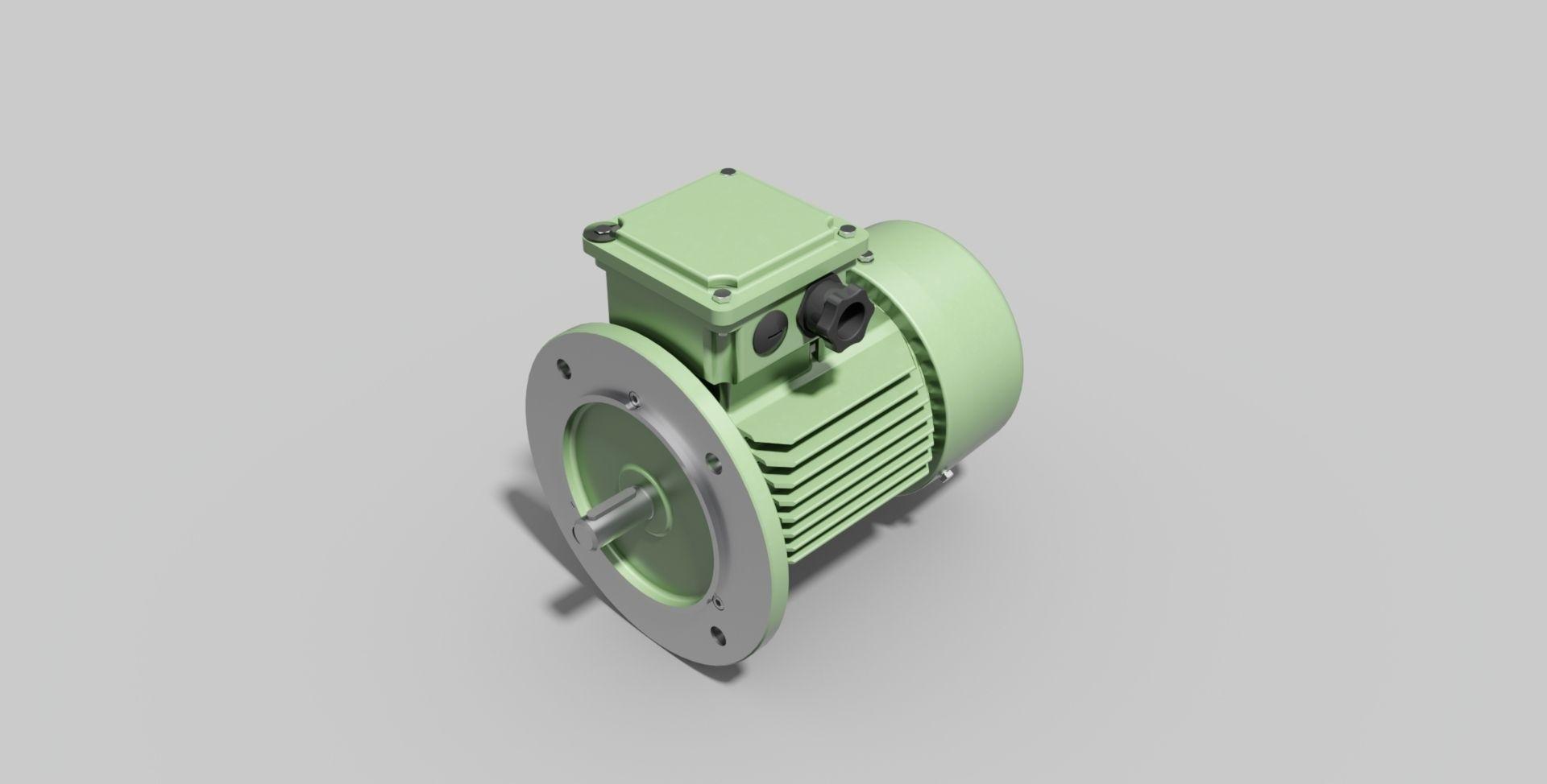 Iec80 B5 Electric Motor Free 3d Model Dwg Ipt Stp