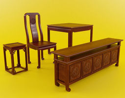 3D model Indochina table and chair