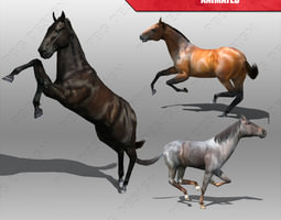 horse animated low-poly 3d model