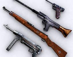 WW2 lowpoly german firearms 3D Model