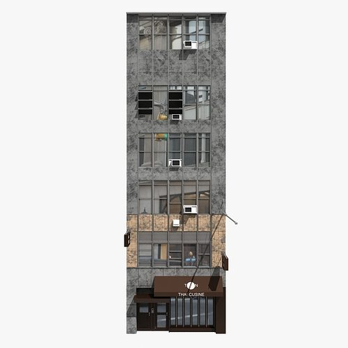 3d new york building facade cgtrader for Model houses in new york