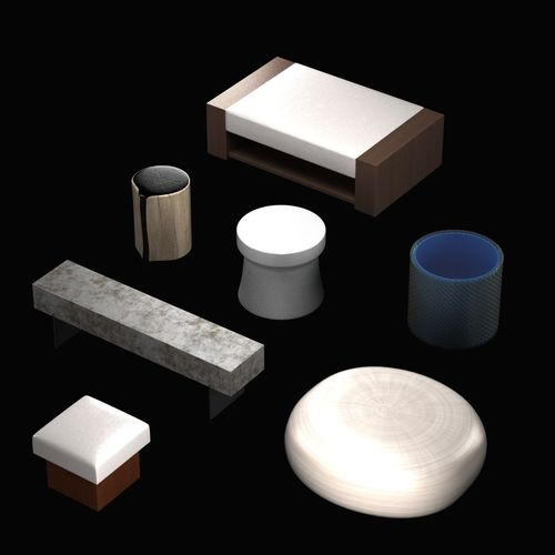 Pouf and table collection3D model