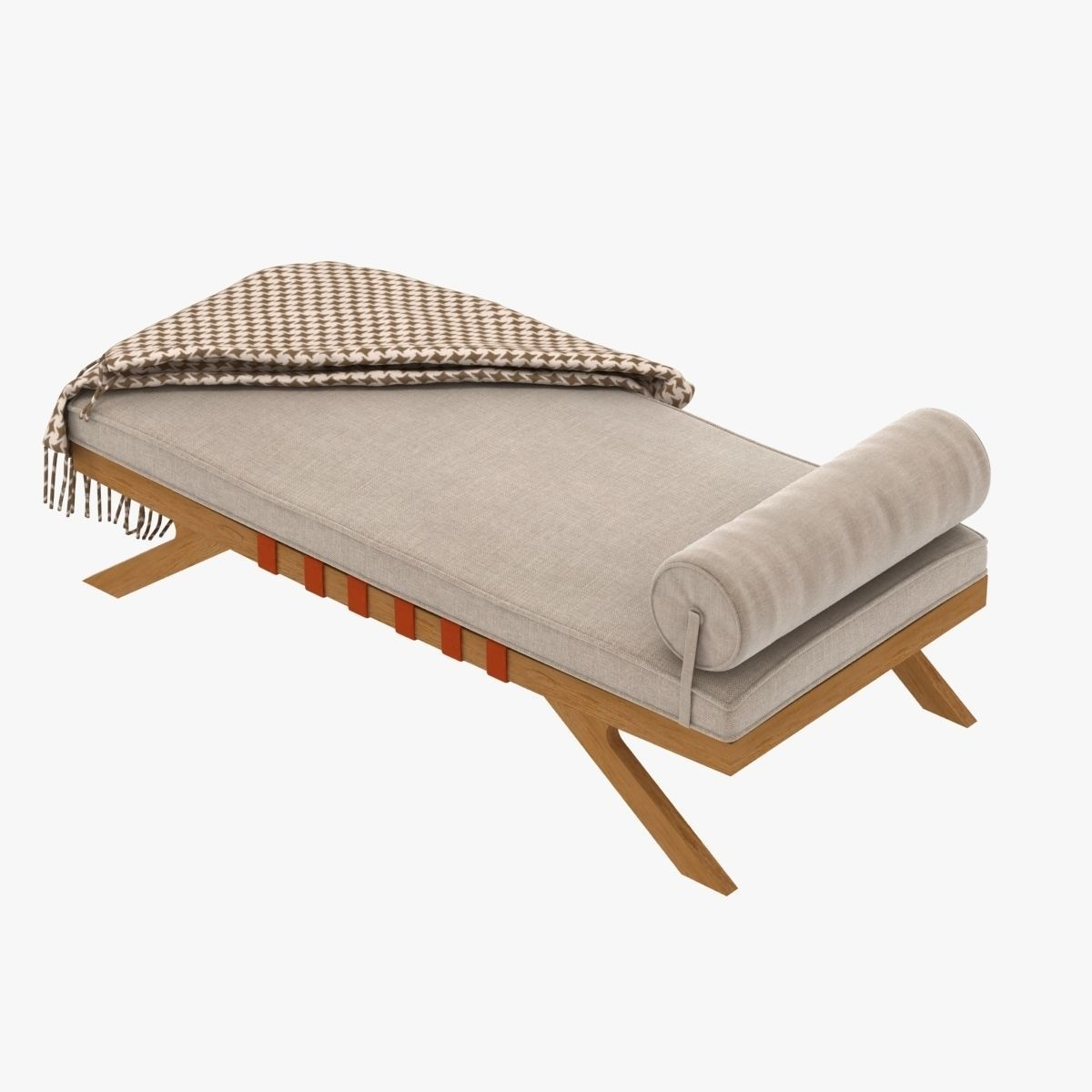 Mid century chaise lounge 3d model max obj 3ds fbx for Century furniture chaise lounge
