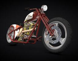 Custom red chopper 3D model