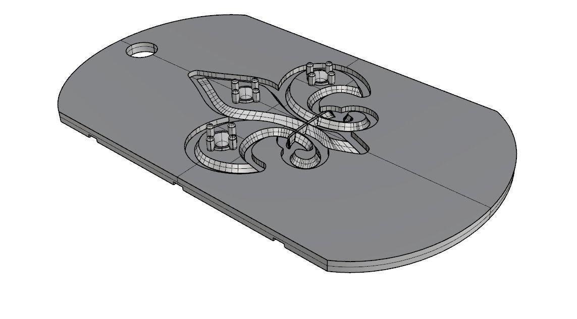 photo regarding Printable Asset Tags identified as Pet Tag Fleur de Lis 3D Print Design
