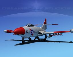 Grumman F9F-5 Panther USMC 4 3D Model