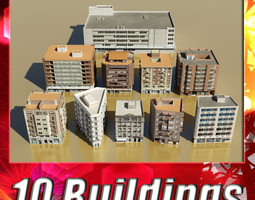 10 Buildings Collection 3D Model