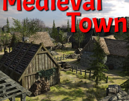 realtime 3d model medieval fantasy town
