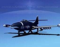 Grumman F9F-5 Panther USN 1 3D Model