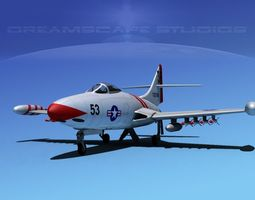 Grumman F9F-5 Panther USN 2 3D Model