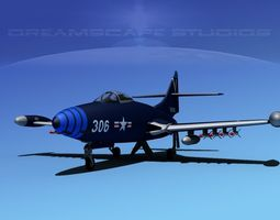 Grumman F9F-5 Panther USN 3 3D Model