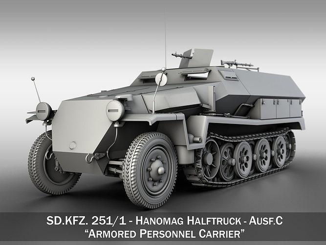 sd kfz 251 1 - ausf c - hanomag halftruck 3d model obj 3ds fbx c4d lwo lw lws 1
