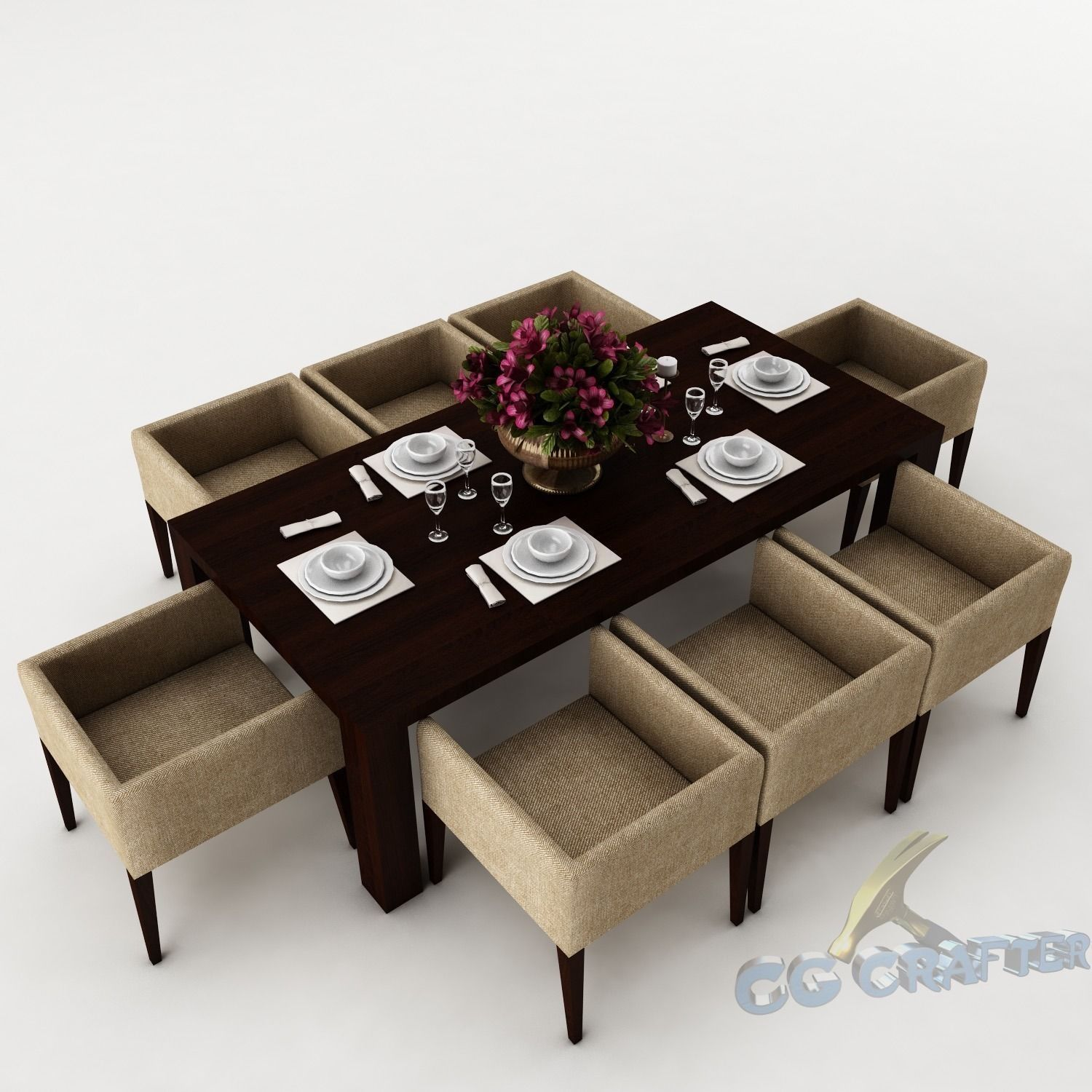 Dining table set 43 3d model max obj 3ds fbx for Dining table models
