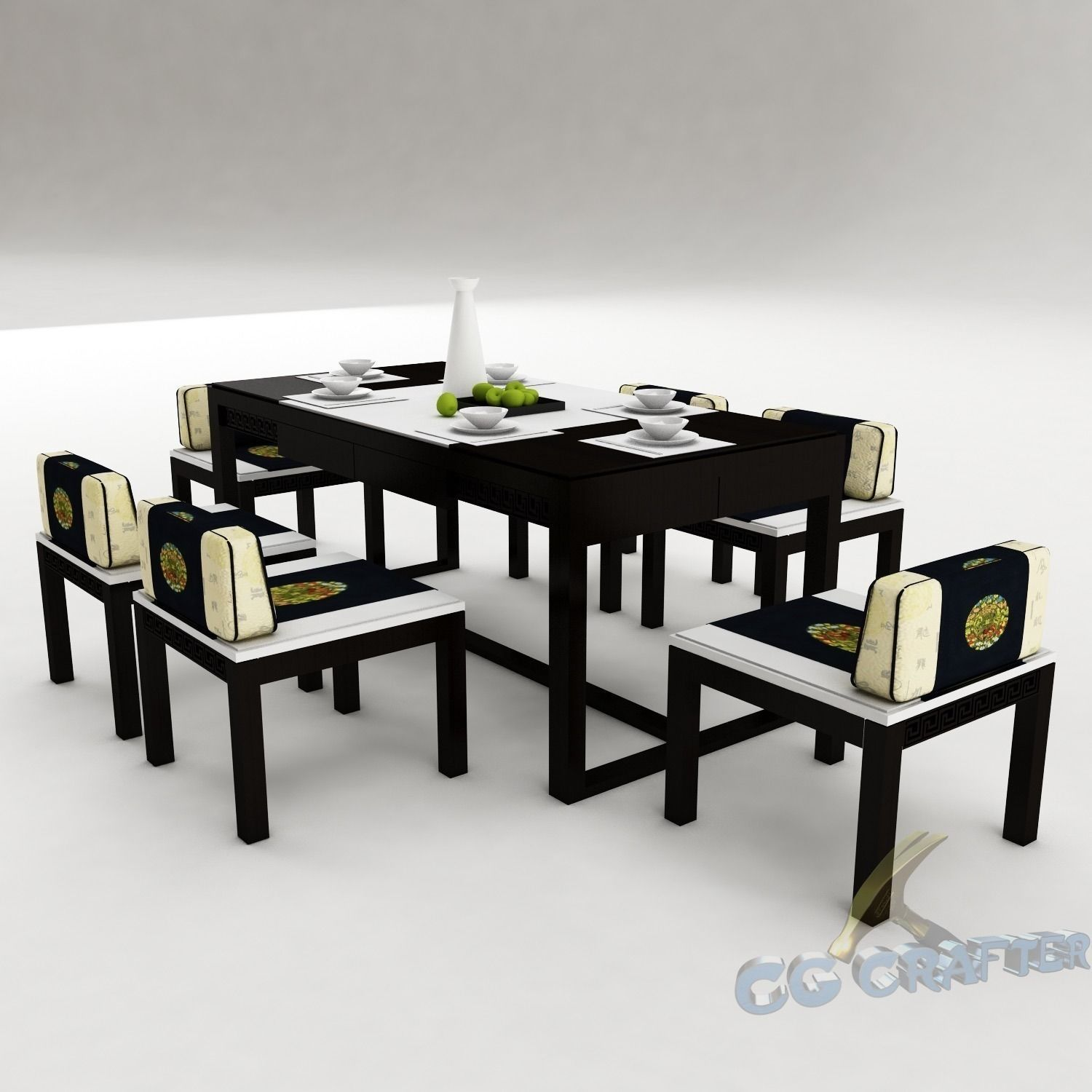 Dining table set 44 3d model max obj 3ds fbx for Dining table latest model