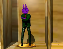 Purple creature with green jacket 3D Model