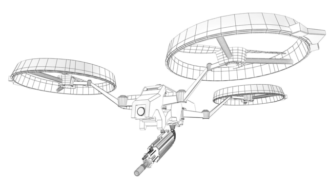 prototype quadrotor free 3d model game ready rigged  max