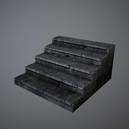 old stairs 3d model low-poly obj mtl fbx c4d lwo lw lws lxo lxl 1