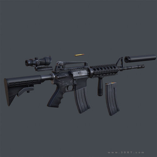 3DRT - Modern Firearms Animated - M4 Carbine3D model