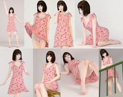 3D model 8 poses of Mariko in pink dress ecchi