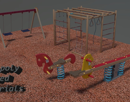 VR / AR ready playground asset 3d model animated