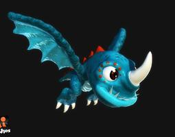 cartoon dragon 3d model game-ready animated