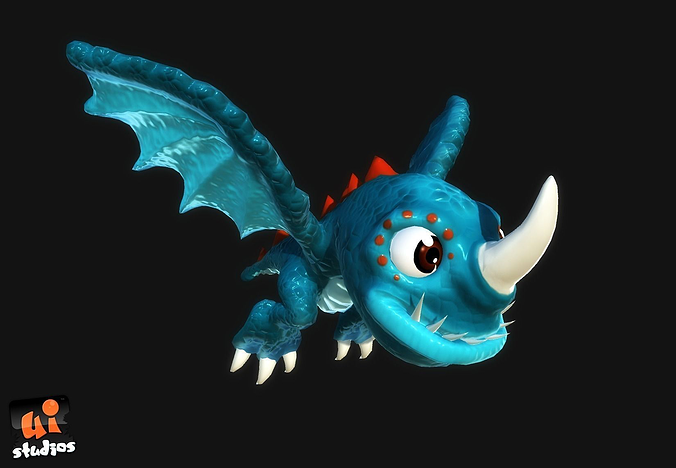 cartoon dragon 3d model low-poly rigged animated ma mb unitypackage prefab 1