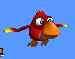 animated red cartoon bird 3d asset low-poly