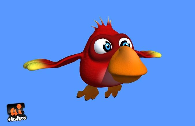 Red Cartoon Bird3D model