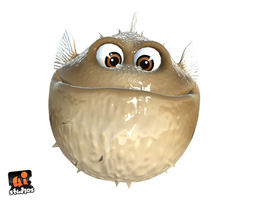 game-ready 3d asset toon puffer fish animated