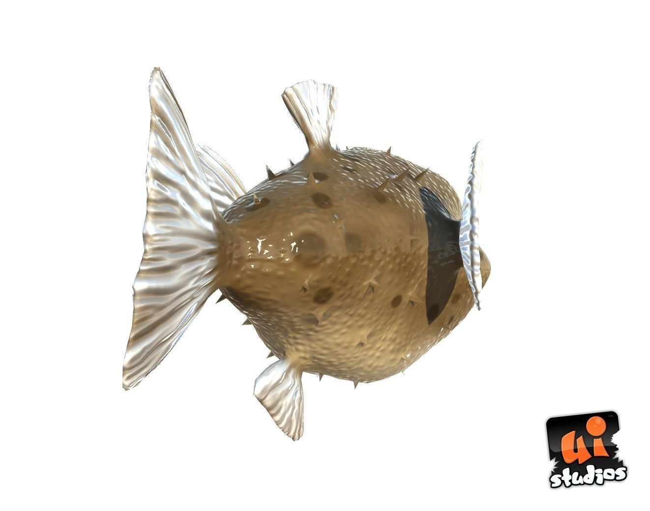 Toon puffer fish 3d model game ready animated rigged ma for Puffer fish price