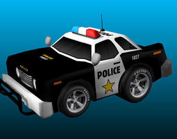 3d asset cartoon police car low-poly