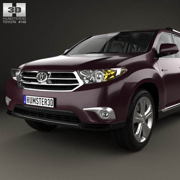 ... Toyota Highlander With Hq Interior 2011 3d Model Max Obj 3ds Fbx C4d  Lwo Lw Lws ...
