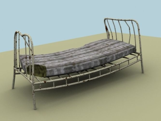 Broken Bed 3d Model Game Ready Max Obj 3ds Fbx Mtl