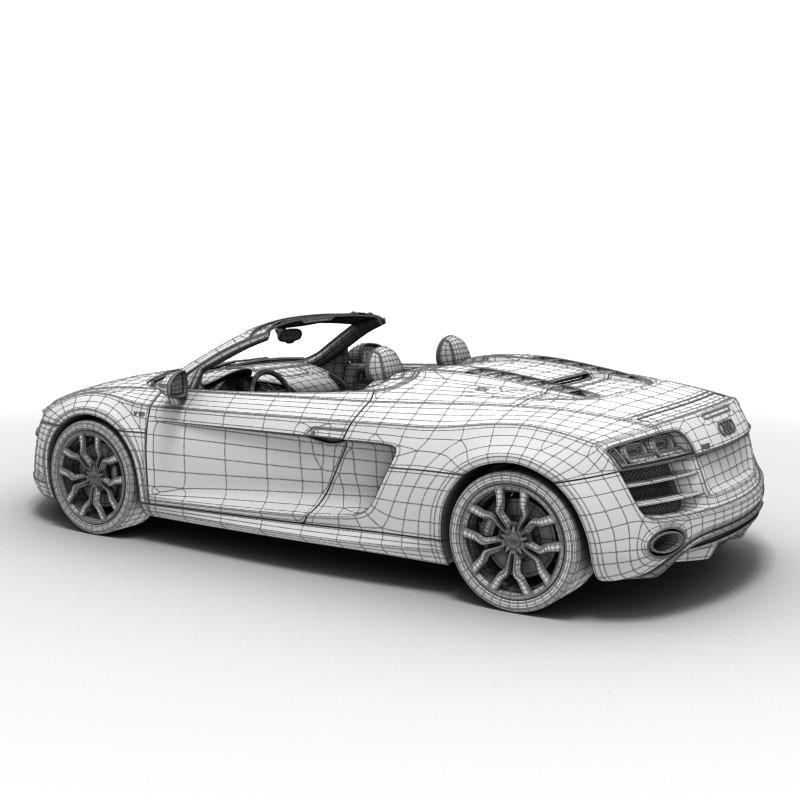 Audi R8 Spyder 2010 3D Model .max .obj .3ds .lwo .lw .lws