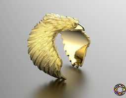 3d print model eagle fashion ring 0156 2