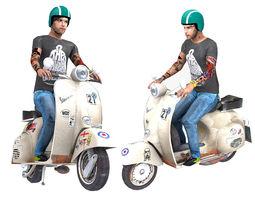 Vespa Rider 3D Model